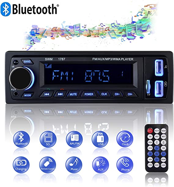 Car Stereo Receiver with Bluetooth 1 Din Car Radio Car Stereo MP3 Player AUX Audio FM Receiver with Wireless Remote Control 1 Din Stereo by MEKUULA