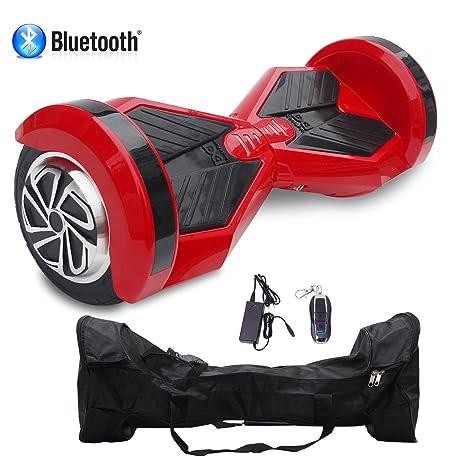 Cool&Fun Patinete Eléctrico Scooter Auto-Equilibrio 2 Ruedas 8 Pulgadas LED Bluetooth(Rojo Negro)