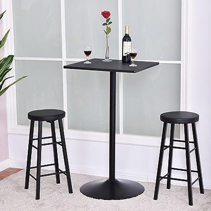 3 PC Square Bar Table Set W/ 2 Stools Bistro Pub Kitchen Dining Furniture  Black