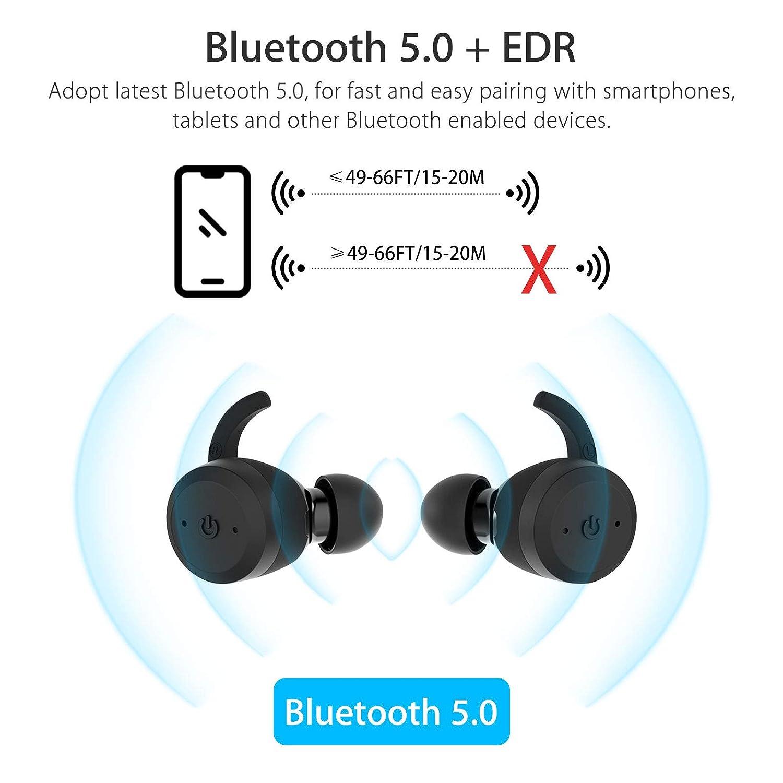 EEEKit True Wireless Earbuds, Bluetooth 5.0 in-Ear Earbuds Sweatproof Sports, True Wireless Headphones with Enhanced Drivers, 3D Stereo Sound, Built-in Mic, Bluetooth Earphones Headset
