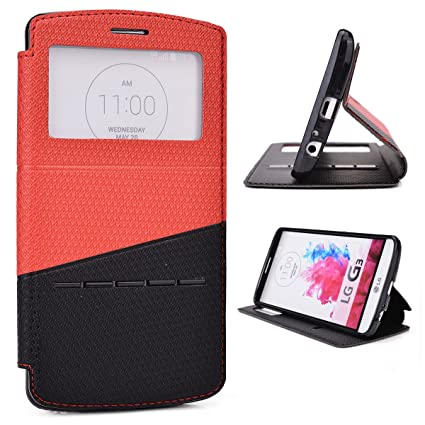san francisco 476f3 cefc7 Amazon.com: Red / Black Slide Auto Answer Stand Case for LG G3: Toys ...