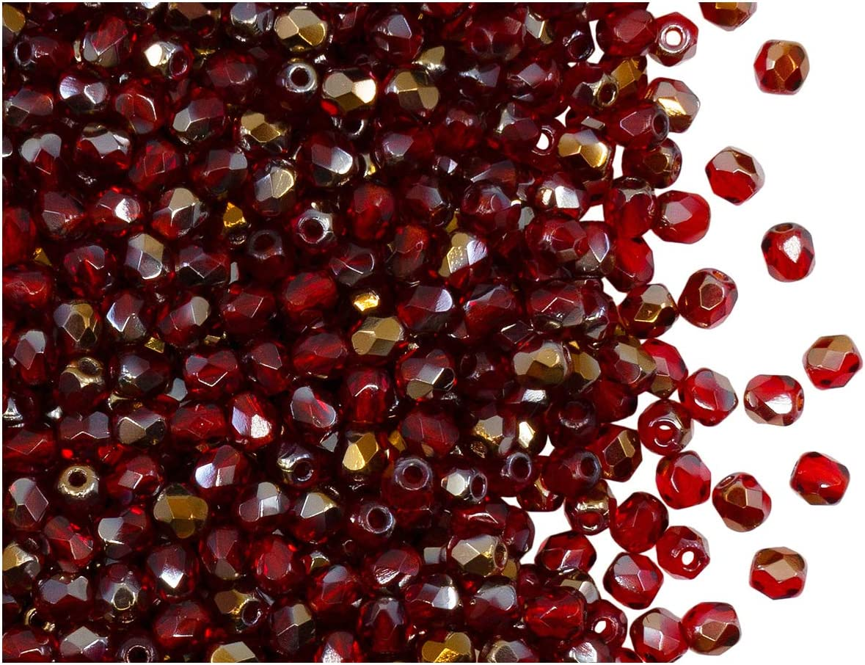 Fire-Polished Beads, 3 mm, 100 Piezas, Cuentas de Vidrio facetadas Redondas checas, pulidas al Fuego, Ruby Valentinite (Red Transparent/Valentinite)