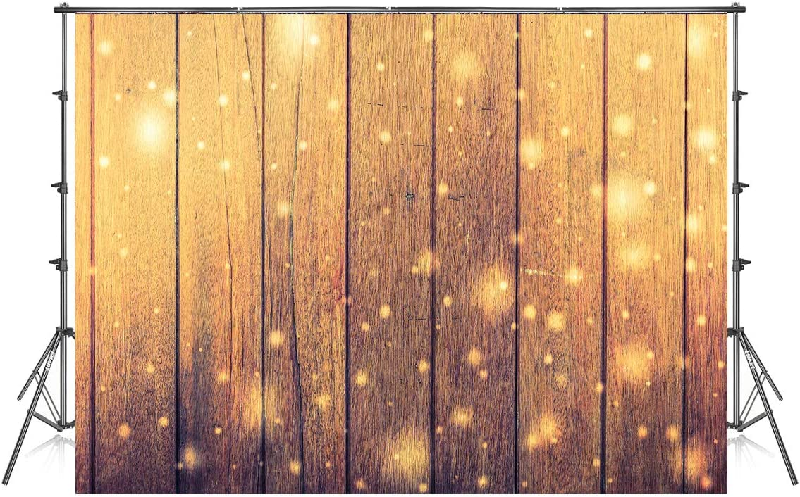 8x8ft Yellow Wood Board Photography Backdrops Light Dots Photo Background Christmas Microfiber Soft Fabric Backdrop for Photoshoot