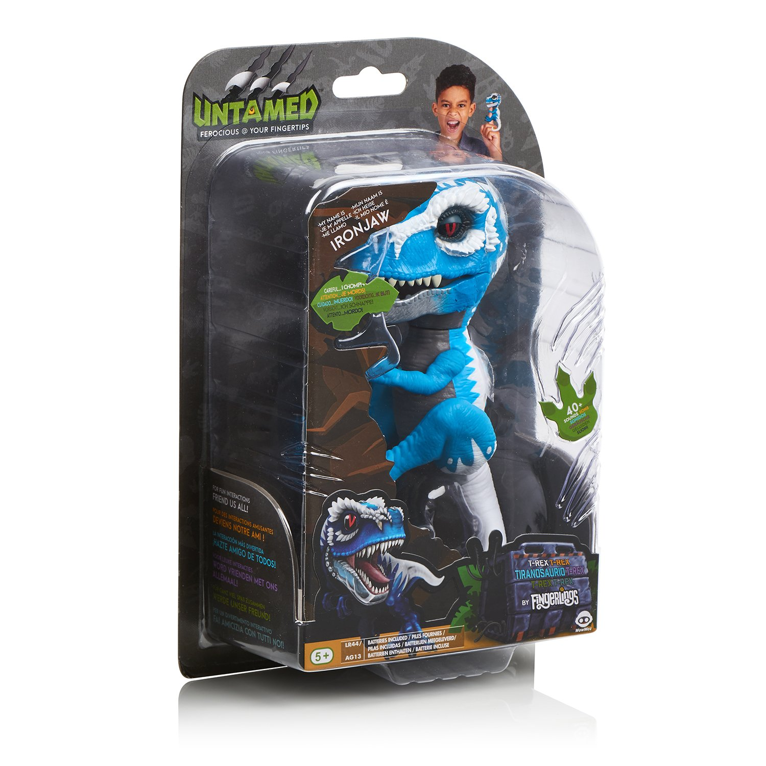 WowWee Untamed T-Rex by Fingerlings Ironjaw (Blue) -Interactive Collectible Dinosaur by WowWee (Image #9)