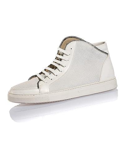 00b20ecb14f BLZ Jeans - Basket Homme Blanche Semi-Montante stylé - Couleur  Blanc -  Taille  40  Amazon.fr  Chaussures et Sacs