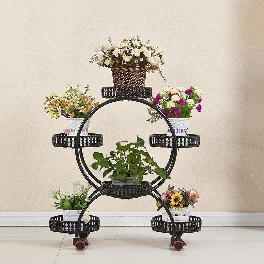 Black Gifts & Decor Plant Stand Shelf Plant Flower Pot Rack Display Shelf Holds 5 Flower Pot , Decorative Metal Garden Patio Stands (color   White)
