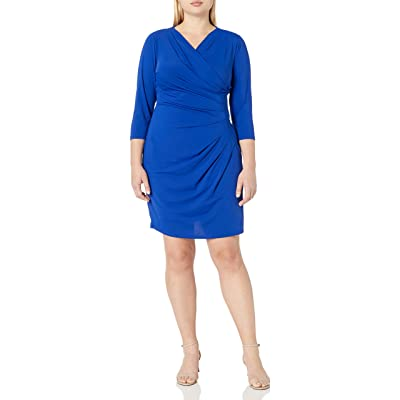 Adrianna Papell Women's Size V Neck 3/4sleeve Wrap Dress Plus, Iris, 1X at Women's Clothing store