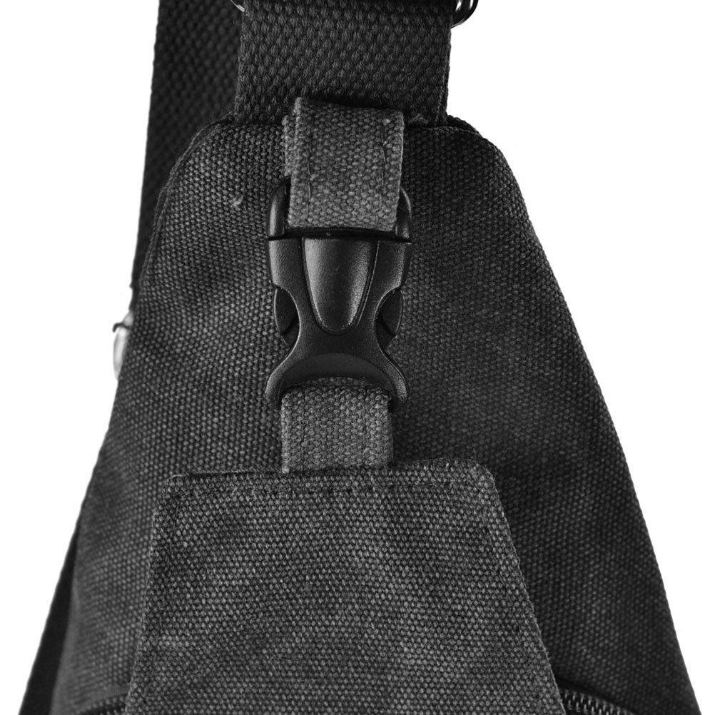 Size L WINOMO Men Outdoor Sports Casual Canvas Shoulder Bag Crossbody Bag Black