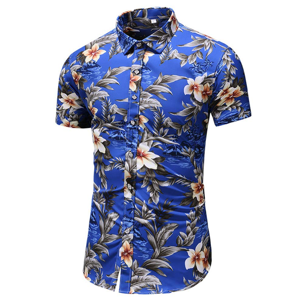 GUJMin Printed Shirt Short Sleeve Shirt Cotton Mens Casual Hawaiian Beach Flower Shirt