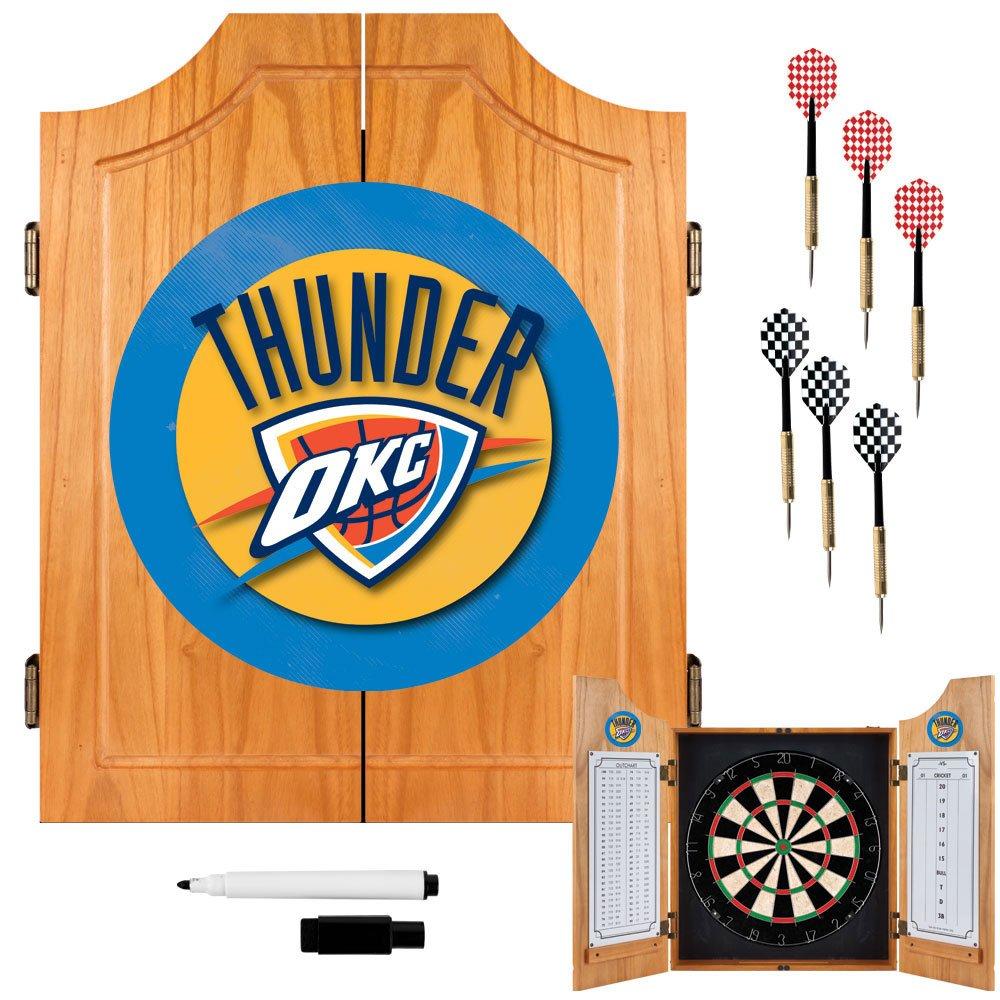 NBA Oklahoma City Thunder Wood Dart Cabinet Set