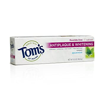 Tom's of Maine, Natural Antiplaque and Whitening Fluoride-Free Toothpaste,  Natural Toothpaste, Whitening Toothpaste, Spearmint, 5 5 Ounce, 1-Pack