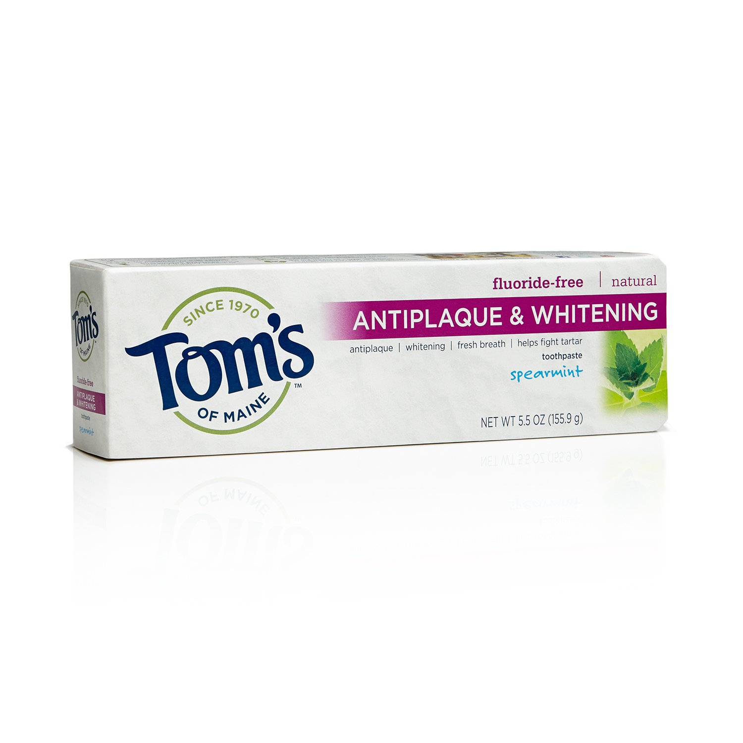 Tom's of Maine 683086 Antiplaque and Whitening Fluoride-Free Natural Toothpaste, Spearmint, 5.5 Ounce, 24 Count