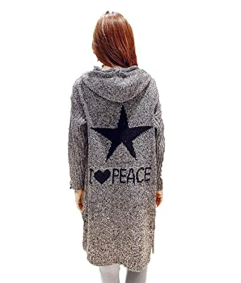 7824ccd54 Long Hooded Cardigan Grey Knee Length Long Sleeve Cotton Knit Love ...