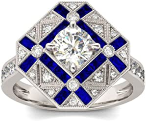 BMART Wedding & Engagement Ring Blue Trapezoidal Rhinestone Inlaid Ring for Women Gift Trendy Ring