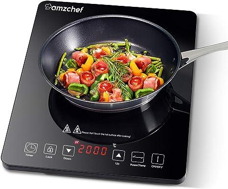 Placa Inducción Portatil AMZCHEF, placa de inducción de 2000 W con cuerpo delgado, 10 niveles de potencia, 10 configuraciones de temperatura, control ...
