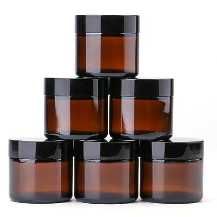 THETIS Homes Frascos de Vidrio Redondos de 2 oz (6 Paquete de) - Envases