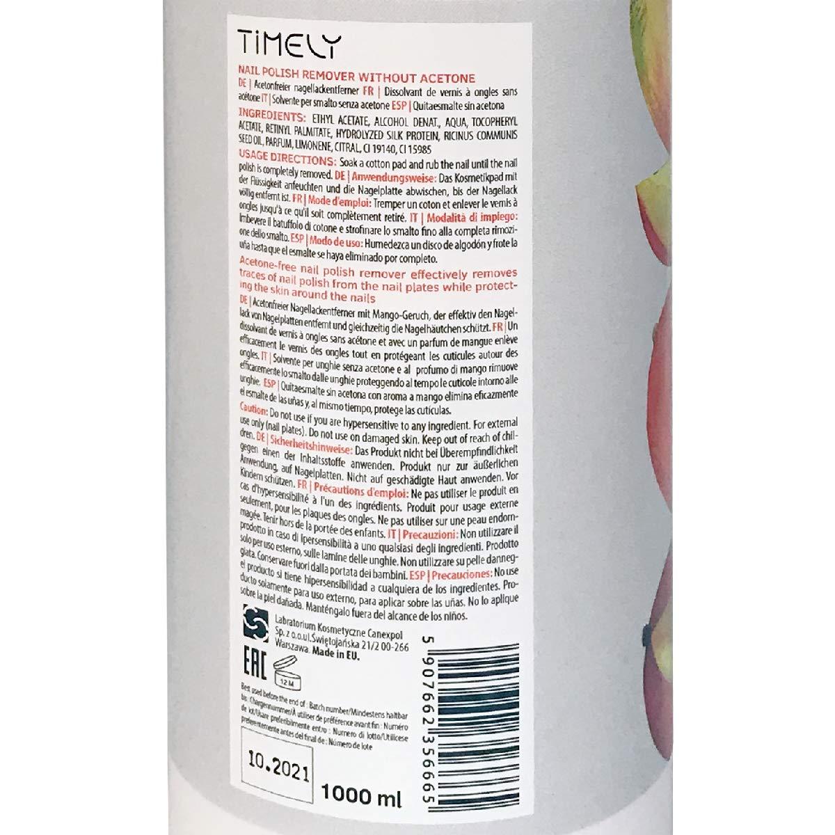 Timely - Quitaesmalte para uñas sin acetona con vitaminas E y A y ...