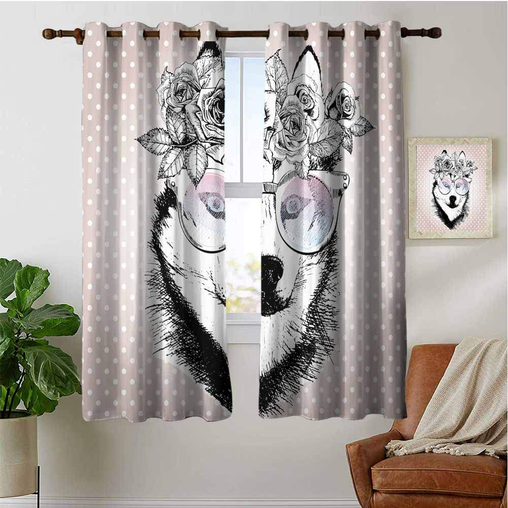 PRUNUSHOME Wreath Sunglasses Kitchen Curtains, Kitchen Cafe Curtains Half Window Treatments Home Fashion Drapes for Small Windows(Set of 2 Panels,42 by 45 Inch) by PRUNUSHOME