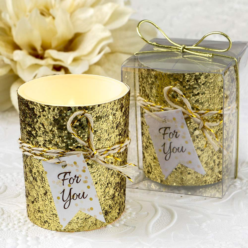 Beaded Bling Candle Votives Wedding Favors (124, Gold)