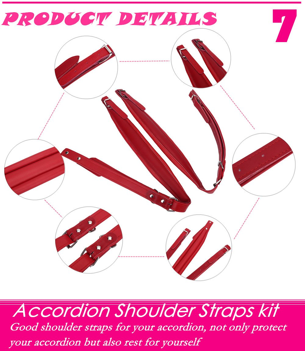 Adjustable PU Leather Accordion Shoulder Straps Set Comfortable Accordion Belt Set Soft Wear-resistant Accordion straps for 16-120 Bass Accordions (White) by Vbestlife (Image #6)