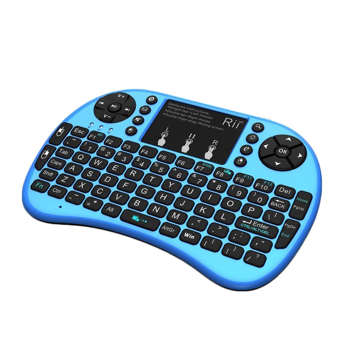 Rii i8+ Mini Wireless 2.4G Back Light Touchpad Keyboard with Mouse for PC/Mac/Android, Blue (MWK08+)