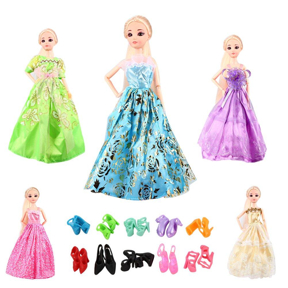Acefun 5 Stück Barbie Puppen Kleider Hochzeitskleid Party Abendkleid ...