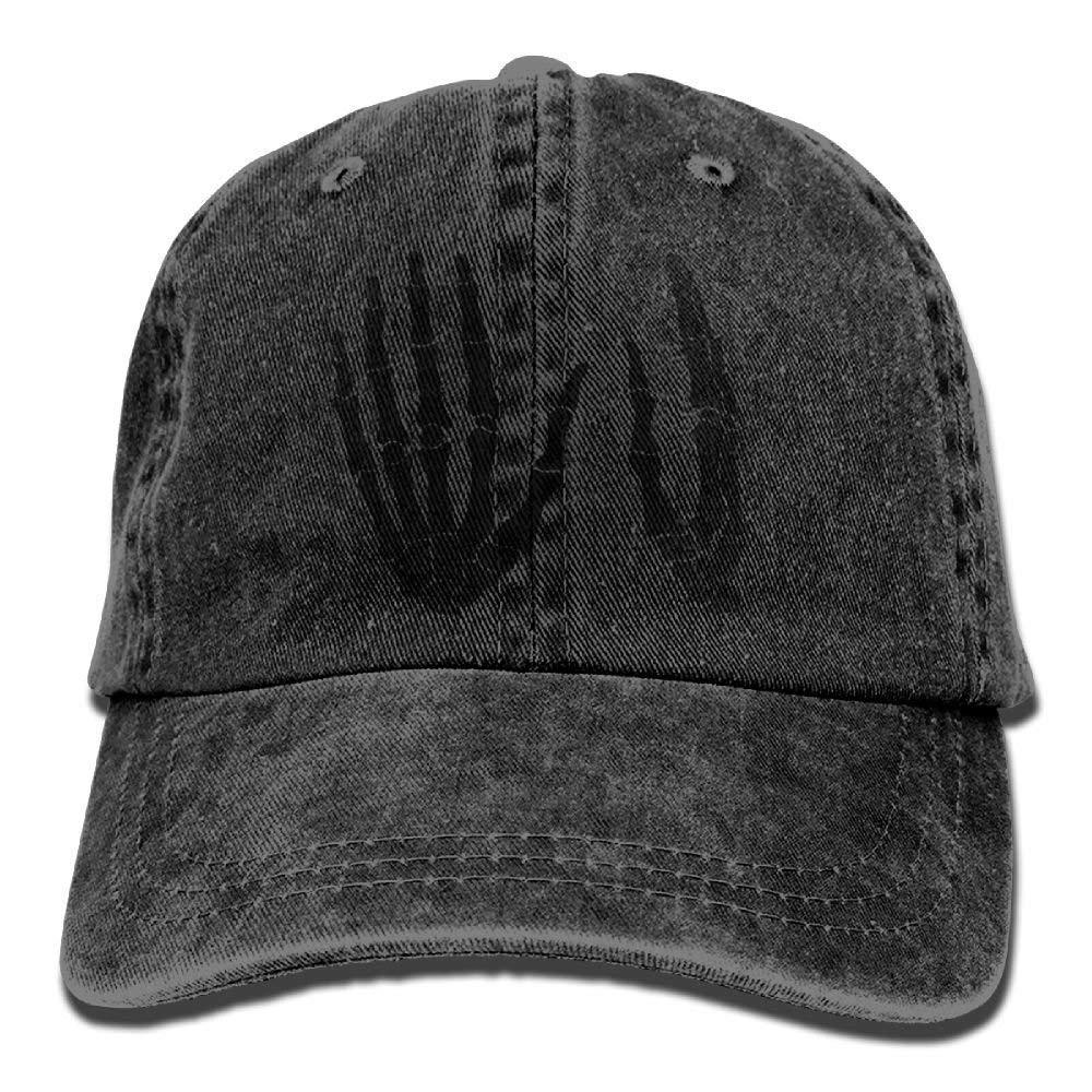 JTRVW Black Hand Bone Denim Hat Adjustable Men Fitted Baseball Hat