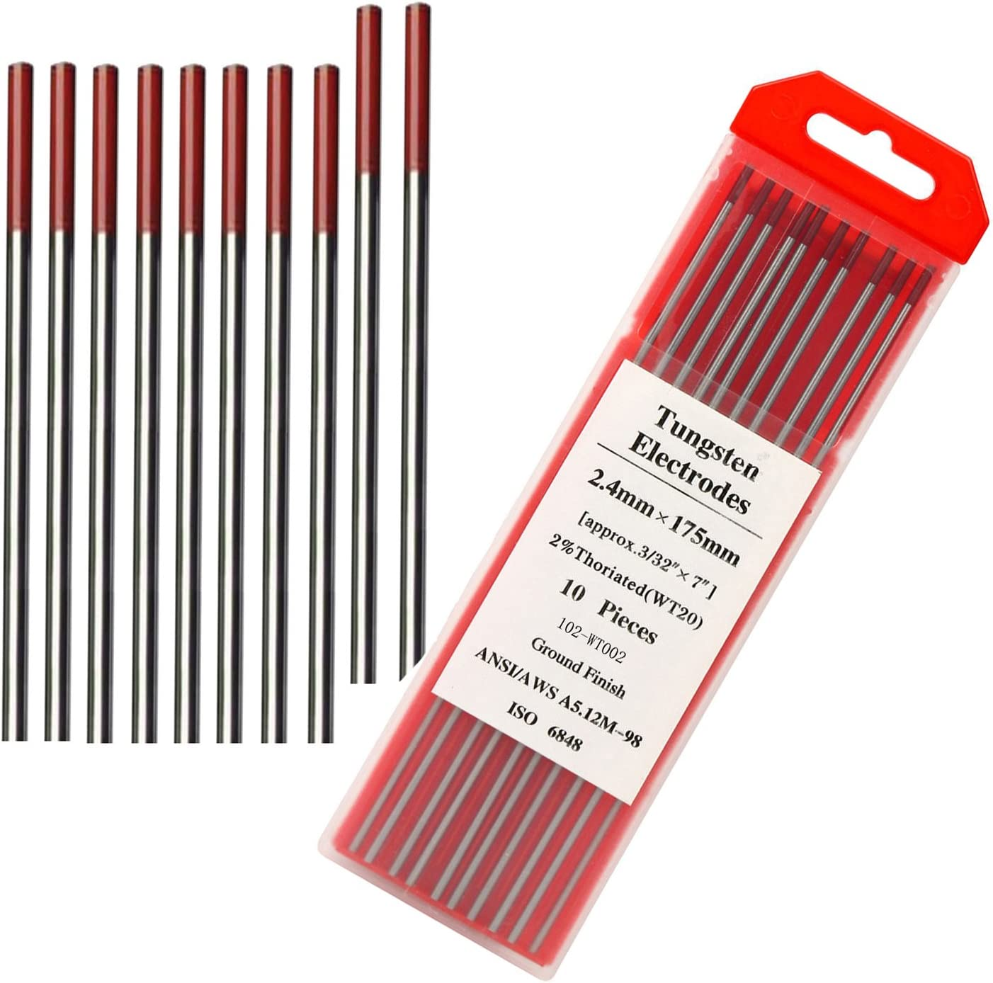 "TIG Welding Tungsten Electrode 2/% Thoriated 3//32/"" x  7/"" 10-PACK Red"