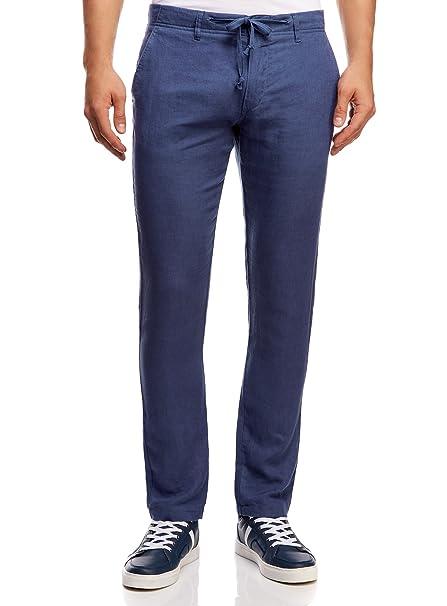 ea50ea510 oodji Ultra Hombre Pantalones de Lino con Cordones  Amazon.es  Ropa y  accesorios