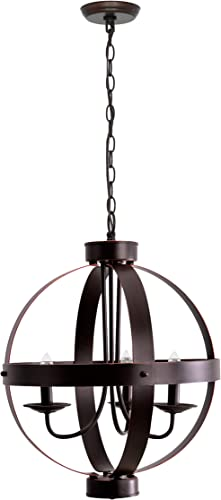 Catalina Lighting 19866-000 Industrial Modern Geometric 3 Metal Orb Open Cage Chandelier Ceiling Light, 16 , Bronze