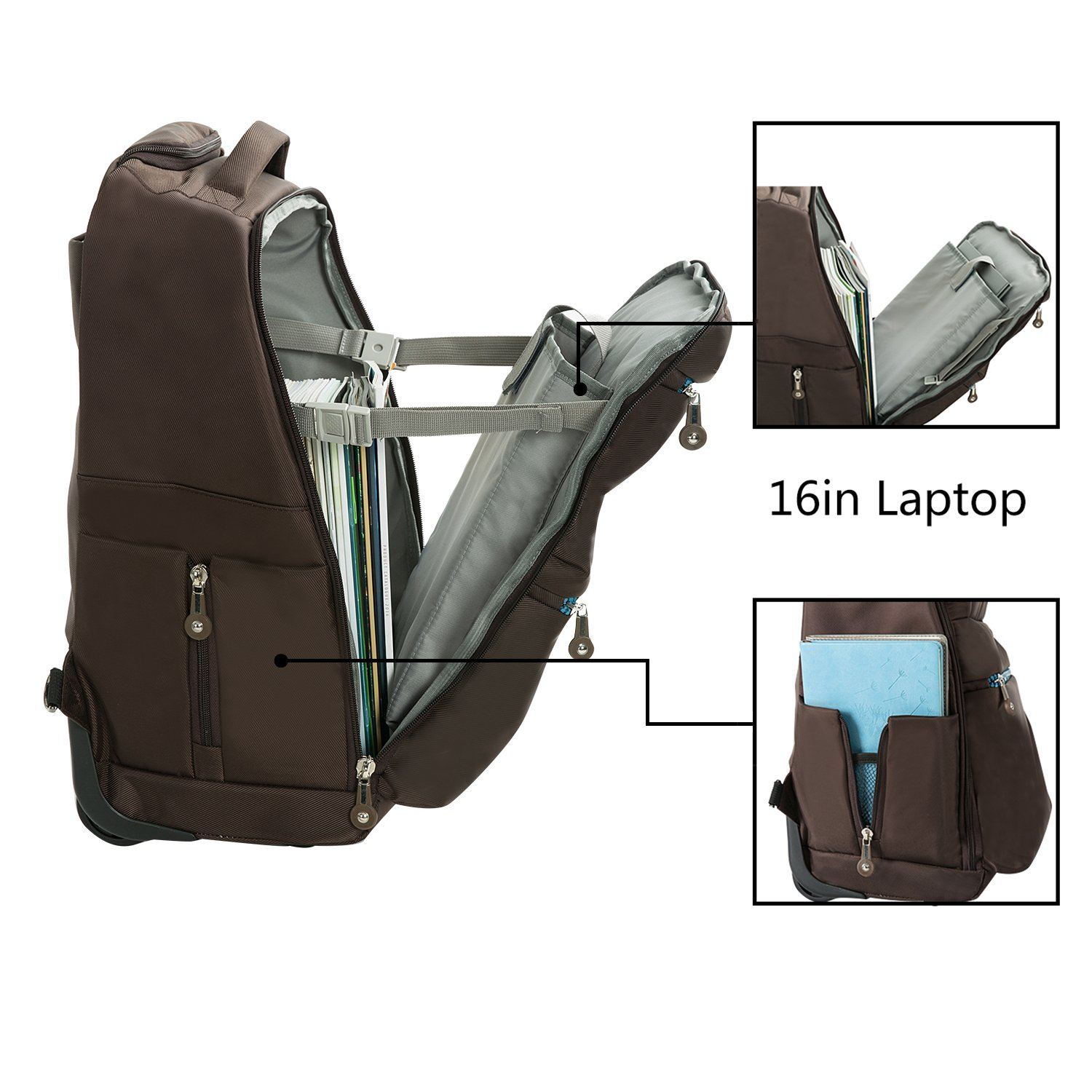 20 inches Large Storage Multifunction Waterproof Travel Wheeled Rolling Laptop Backpack Luggage, Brown by HollyHOME (Image #4)