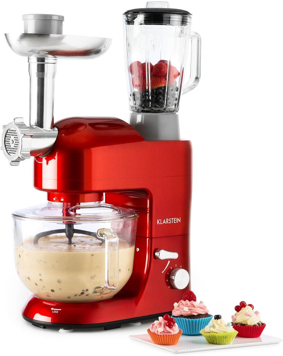 Klarstein Lucia Rossa 2G - Robot de cocina universal, Batidora, 1200 W, 5,2 Litros, Amasadora planetaria, Picadora de carne, Rodillo para pasta, Licuadora 1,5 Litros, 6 Velocidades, Rojo