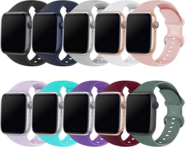 QRose Bands Compatible with Apple Watch 38mm 40mm 42mm 44mm, Replacement Soft Silicone Sport Accessory Strap Wristband for iWatch SE Series 6/5/4/3/2/1