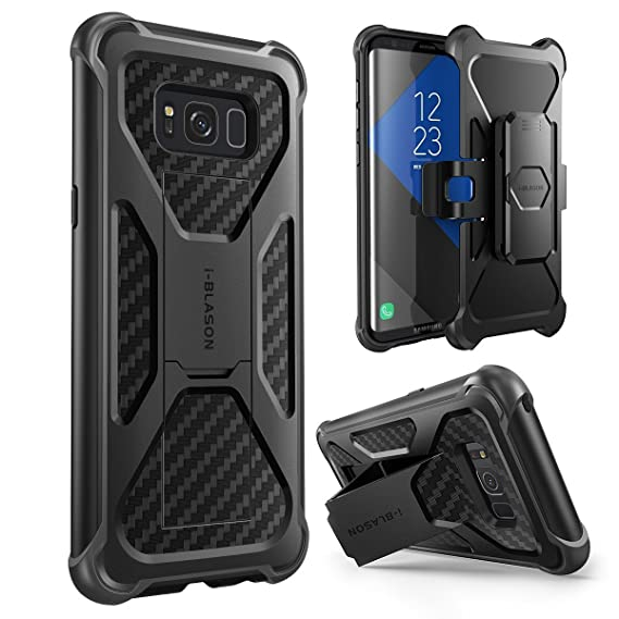 i-Blason Galaxy S8 Plus Case, Transformer [Kickstand] [Heavy Duty] [Dual Layer] Combo Holster Cover Case With [Locking Belt Swivel Clip] For Samsung ...