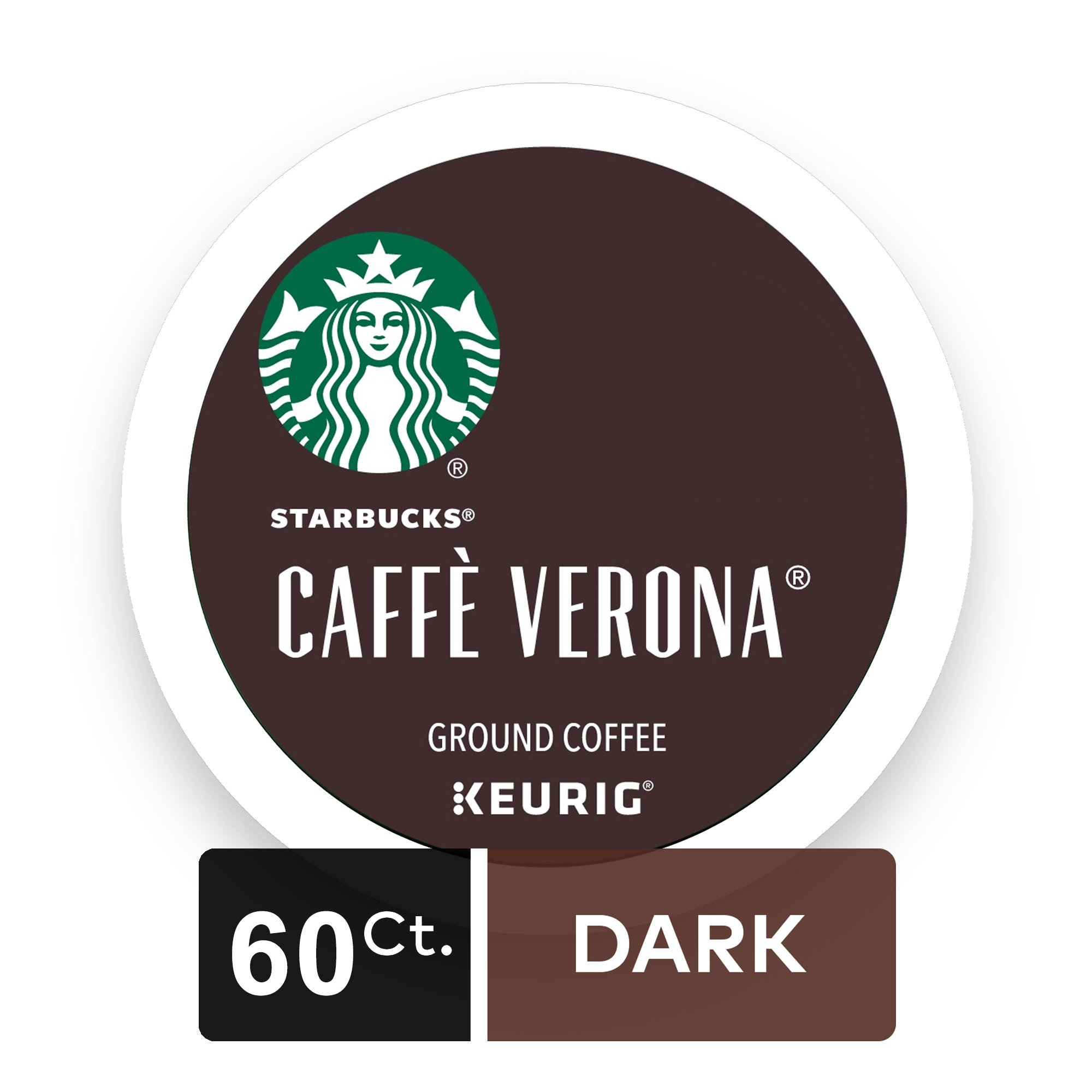 Starbucks Caffè Verona Dark Roast Single Cup Coffee for Keurig Brewers, 6 Boxes of 10 (60 Total K-Cup pods)