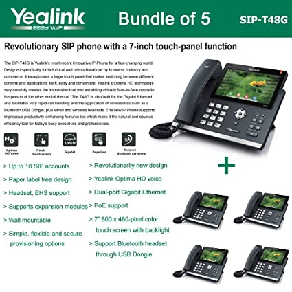 5 Pack of Yealink SIP-T48G Gbit VoIP Phone Ultra-Elegant Touchscreen