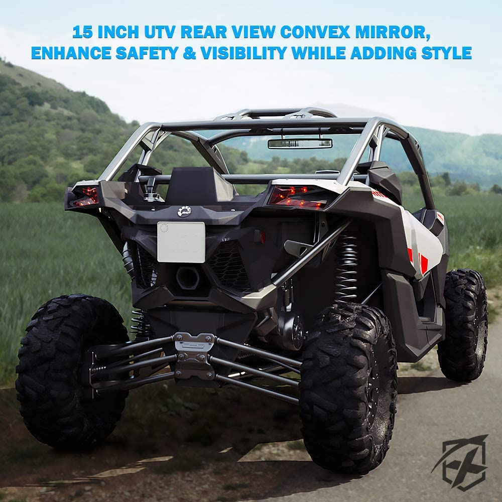 Wide Angle Tempered Glass Mirrors fits 1.75 Inch Rollbars for Offroad 2020 Polaris RZR 800 1000 S 900 XP 1000 Yamaha Xprite 15 inch UTV Rear View Center Mirror with Aluminum Alloy Mounting