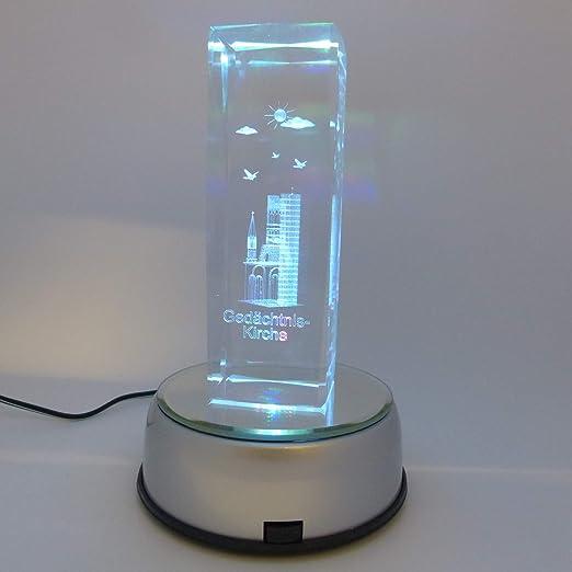 LED Drehteller für 3D Glasfiguren Untersetzer Sockel Farbwechsler Achteck 7-LED