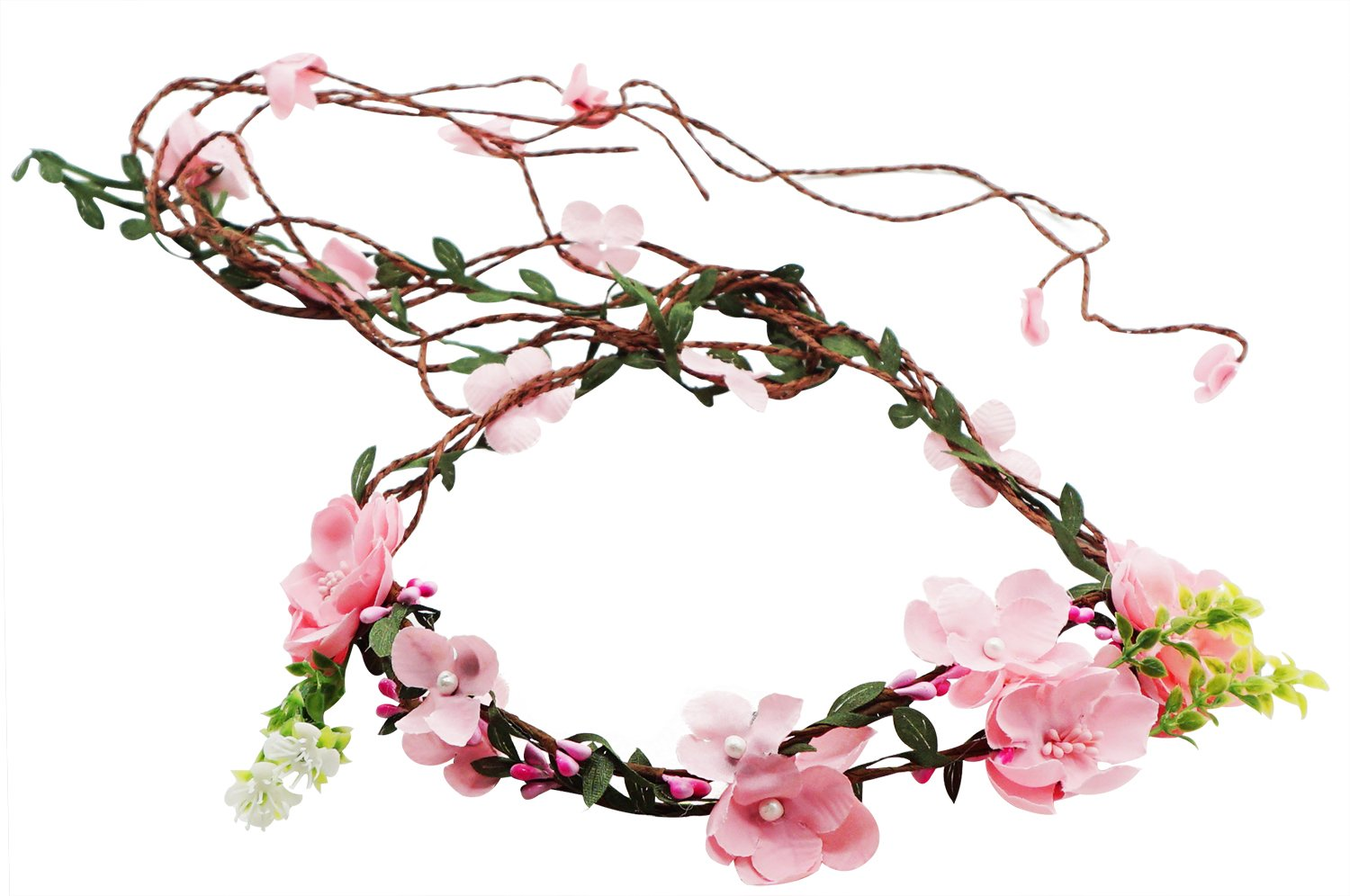 Lovful Womens Adjustable Flower Vine Crown Rattan Tiaras Headbands Garland Halo,Pink Stlye 2