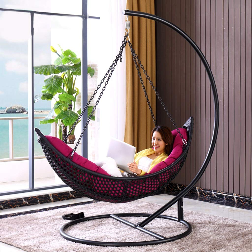 Friendship Shop- Single Rattan Swing Chair, Waterproof Cushion Easy to Clean Without Fading - Black