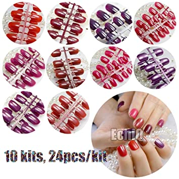 Amazon.com : 240Pcs False Nails Tips Short Full Cover Fake Artificial Nails Pure Candy Color Manicure Nail Tips Brown Shimmer Purple Red 10sets mix colors : ...
