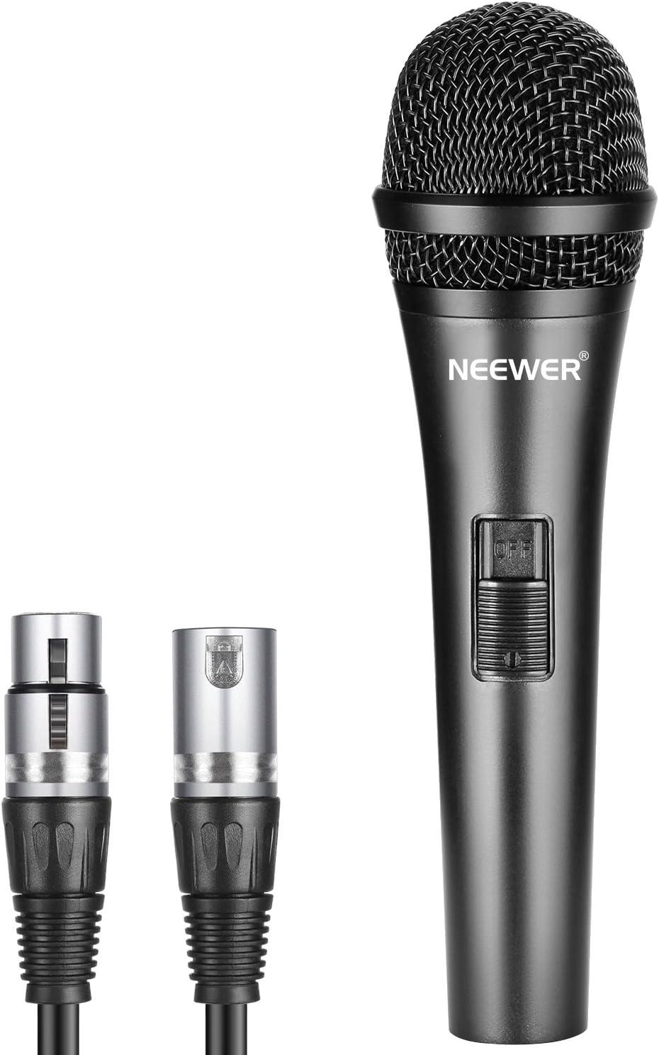 Neewer Cardioide Micrófono Dinámico con Cable XLR Macho a XLR Hembra,Construcción de Metal Rígido para Recogida de Instrumento Musical Profesional,Vocales,Radiodifusión,Conferencia,Negro(NW-040)