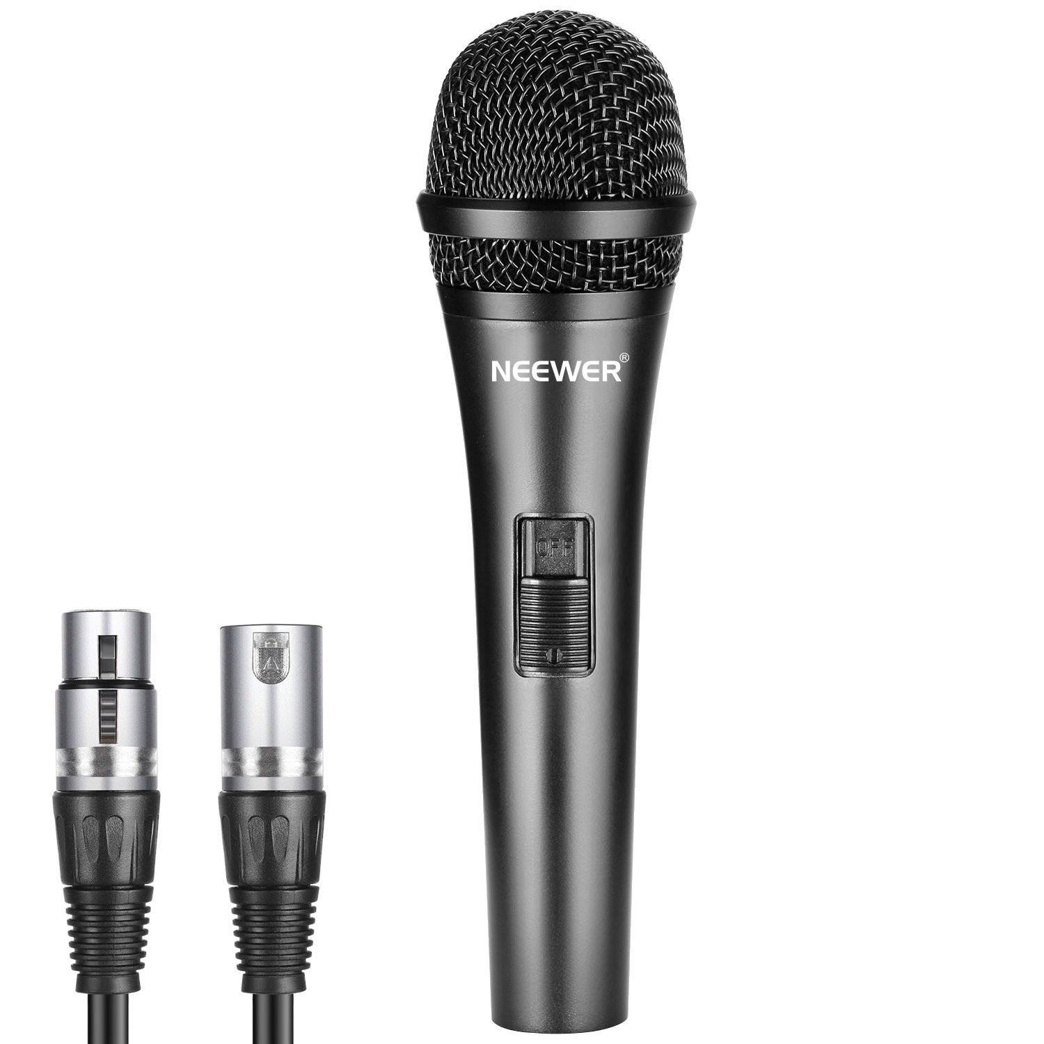 Neewer Cardioid Dynamic Microphone with XLR Male to XLR Female Cable, Rigid Metal Construction for Professional Musical Instrument Pickup, Vocals, Broadcasting, Speech, Black (NW-040) by Neewer
