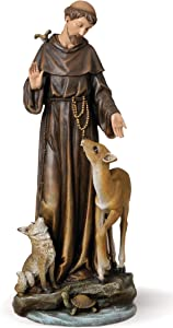 "Joseph's Studio by Roman - St. Francis with Animals Figure, 14"" Scale Renaissance Collection, 13.75"" H, Resin and Stone, Religious Gift, Decoration"