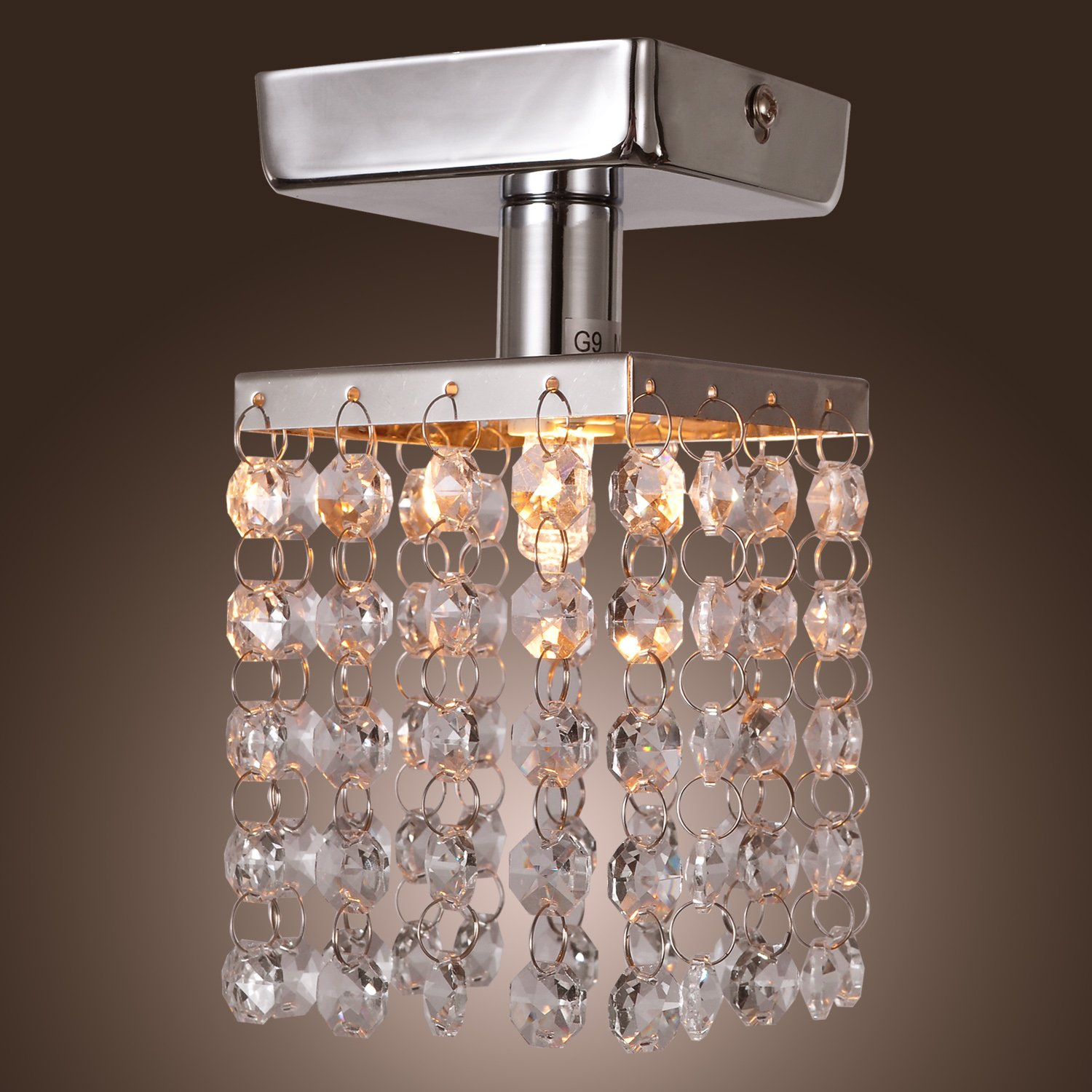 LightInTheBox Mini Semi Flush Mount in Crystal Chrome Finish