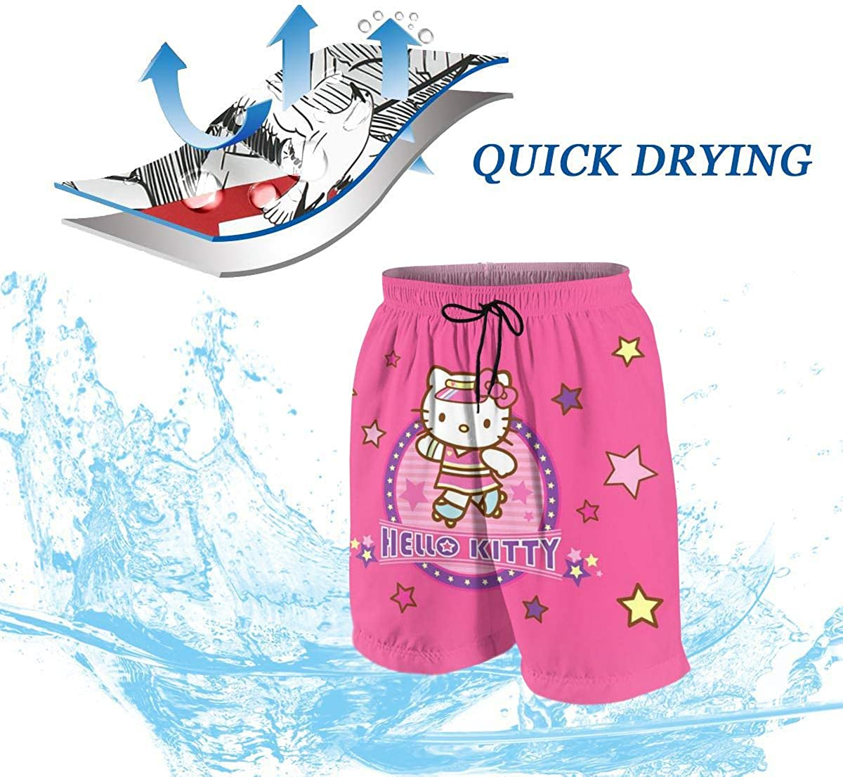 Swim Trunks Pink Hello Kitty Quick Dry Beach Board Shorts Bathing Suit with Side Pockets for Teen Boys