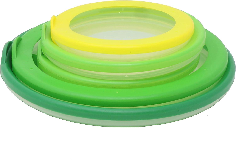 Farberware Bowl Hugger Reusable Multipurpose Food Saver Lids, Set of 5, Green/Yellow