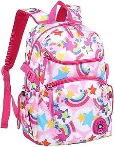 """Mochila para Niñas, Unicornio Mochilas Escolares Juveniles, Primaria Mochila Infantil 16"""" Gran Capacidad Colegio Viajes Mochilas con Tira Reflectante, Regalos para Adolescentes, Negra"""