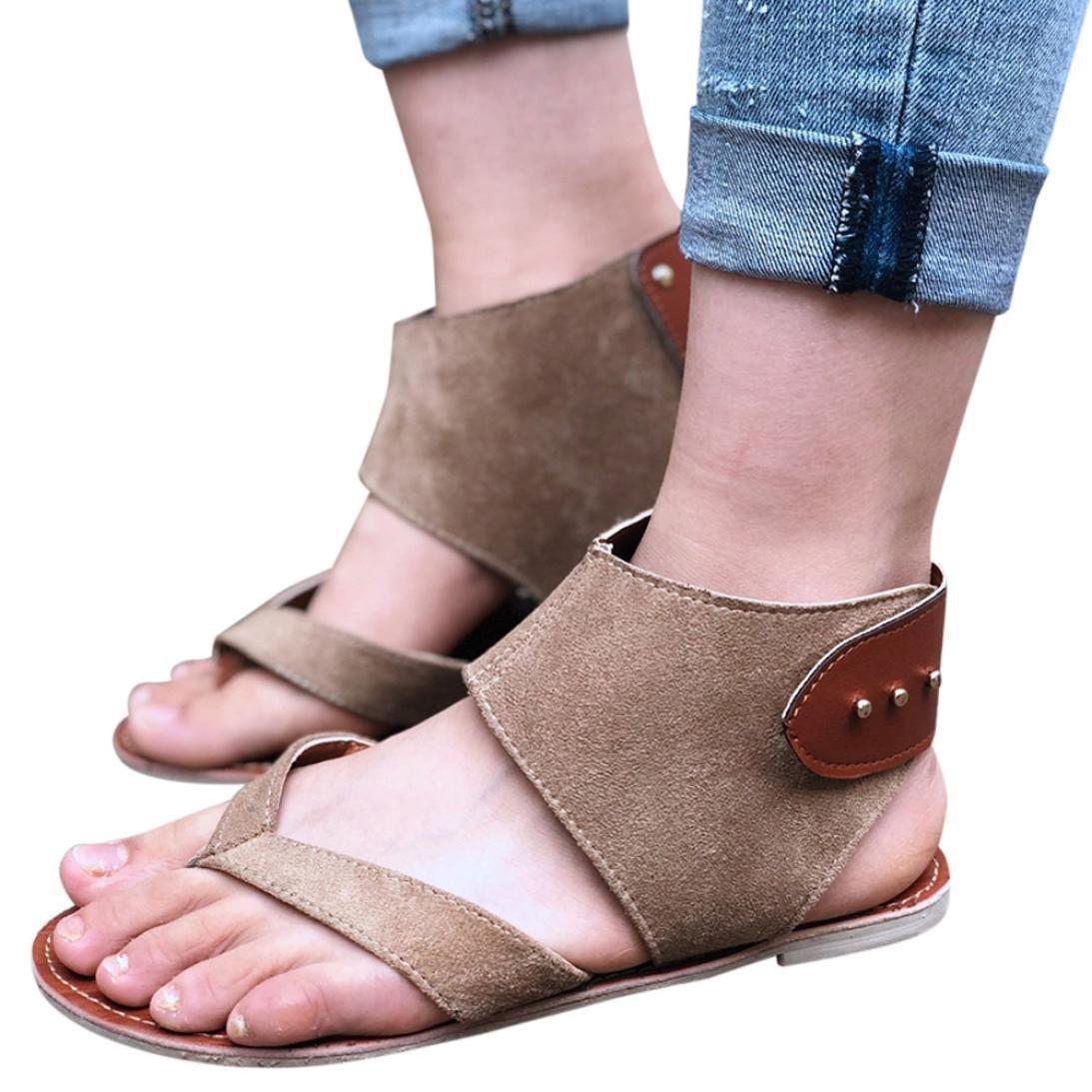 FORUU Summer Women Sandals Flats Fashion Shoes Casual Rome Style Sandals Casual (39, Khaki)