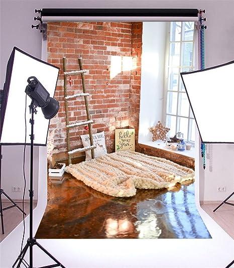 YongFoto 1,5x2,2m Fondo de Fotografia Navidad Escalera Madera Alfombra Ventana Grunge Pared ladrillo Rojo Interior Telón de Fondo Fiesta Niños Boby Retrato Personal Estudio Fotográfico Accesorios: Amazon.es: Electrónica